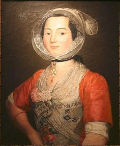 Antoine Raspal (1738–1811)  Titlearlésienne aux oeillets  Check out the detail of her shift sleeves.