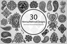 30 Henna/Mehndi Designs (Vector)