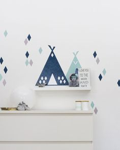 Nursery décor « Tipi »: Wall Stickers pour longueur de corniches IKEA Ribba/Mosslanda Auto 55 cm (1W-DR05-02)