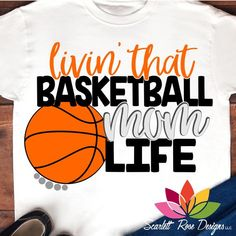 Basketball SVG, Livin' That Basketball Mom Life SVG, DXF, PNG Basketball cut file for silhouette cameo and cricut vinyl cutting machines Basketball Shirt Designs, Basketball Mom Shirts, Basketball Workouts, Love And Basketball, Sports Basketball, Softball, Basketball Stuff, Basketball Design, Basketball Drawings