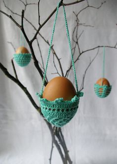 SALE / EASTER decoration  3 hanging crochet eggs by MIKALINOS, $10.80