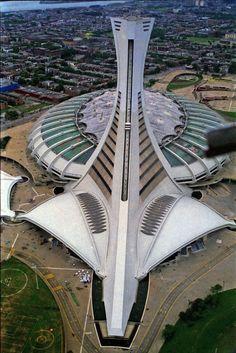 Olympic stadium, Montreal Que. Quebec Montreal, Montreal Ville, Quebec City, Living In Peru, Living In Costa Rica, Futuristic Architecture, Amazing Architecture, Olympic Stadium Montreal, Stadium Architecture