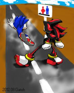 The sonic the hedgehog peeing falls into