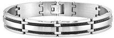 Ax Jewelry Mens Black Carbon Fiber Stainless Steel Bracelet.