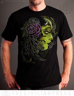 Men's Widow graphic black tee shirt, the Civilian Press design by tonymash