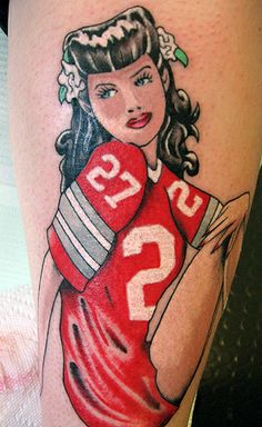 Probably the coolest pin-up girl tattoo I have seen in a LONG time!     osu0001 by Fate Tattoo, via Flickr