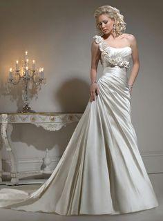 Fashionable One Shoulder Empire waist Satin wedding dress