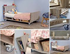I wouldn't do it quite the same way, I would make a cooler headboard and foot board. But it is a brilliant way to make a bed quickly without a huge expense. I picture a modern platform bed made with the pallets as the supports...