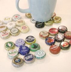 Bottle cap coasters This looks like a fun and simple project.