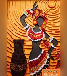 my favoruite lists Paper Quilling Patterns, Quilled Paper Art, Quilling Paper Craft, Paper Crafts, Afrique Art, African Art Paintings, Conceptual Design, Afro Art, Woman Painting