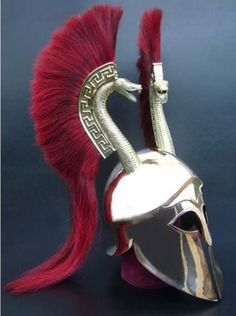 A fabulous recreation of the double serpent crested Corninthian helmet by Spanish armourers Ferran Garreta.
