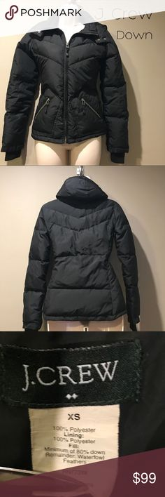J. Crew Down Puffer Jacket, size XS In excellent preowned condition, black puffer down jacket by J.Crew. Size is extra small J. Crew Jackets & Coats Puffers