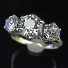 1.85ct Old Euro Cut Diamonds 1.09ct Center by sohojewelers on Etsy
