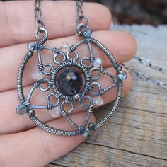 silver wire wrapped sterling silver sun mandala by elementsartifacts on etsy