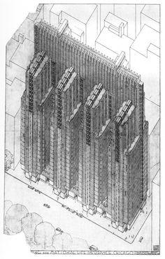 Study Frank Lloyd Wright Sketches of Structures Never Built - Curbedclockmenumore-arrownoyesConcertConcert : Paper Architecture, Architecture Drawings, Architecture Plan, Historical Architecture, Frank Lloyd Wright, National Life Insurance, Usonian, Retro Futurism, Brutalist