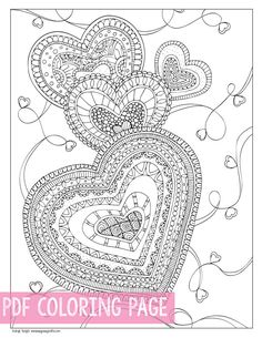 Zen Hearts Coloring Page for Adults. I love how coloring for grown ups is now a thing.