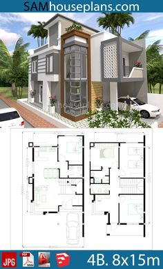 Home Design Plan with 4 Bedrooms - SamPhoas Plan - House Architecture House Layout Plans, Duplex House Plans, House Layouts, Small House Plans, Bedroom House Plans, Bungalow House Design, House Front Design, Small House Design, Modern House Design