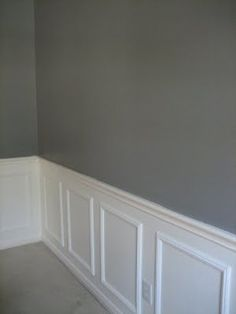 Nothing like a little grey and white wainscoting for the dining room, and so simple to do too! The website gives a diy tutorial