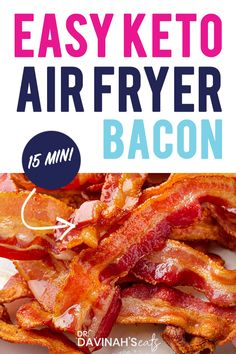 This easy method shows you how to make perfectly crispy bacon every time in the air fryer. Use no-sugar added bacon to keep it Whole30, keto and paleo-friendly. It takes less than 15 minutes to make crispy bacon in the air fryer and involves very little clean up! #breakfast #airfryer #keto #paleo #bacon Whole30 Recipes, Bacon Recipes, Side Recipes, Low Carb Recipes, Healthy Recipes, Low Carb Quiche, Low Carb Bagels, Paleo Bacon, Bacon Sausage