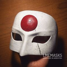 Katana Leather Mask Cosplay Suicide Squad White Task by LMEmasks