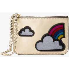 Les Petits Joueurs Cloud And Rainbow Applique Coin Purse ($89) ❤ liked on Polyvore featuring bags, wallets, metallic bag, pink bag, coin purses, coin purse wallets and change purse wallet