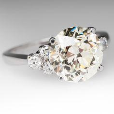 3.6+Carat+1940's+Transitional+Cut+Diamond+Ring+EraGem+Vintage+Estate+Jewelry