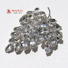 Vintage Leaf Form Brooch with Lots of Fire Sterling by BerrysGems