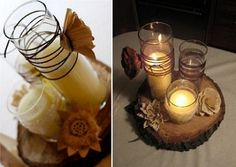 15. Rustic Woodland Candles     Photo Credit: DesignSpongeThe bride who made this gorgeous rustic centerpiece was on a budget and turned a few simple pieces into something