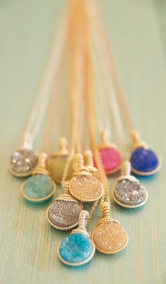 Bright and Colorful Druzy Pendant Necklaces wrapped by BareandMe, $48.00