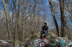 Painted Rocks in the woods at Purchase College