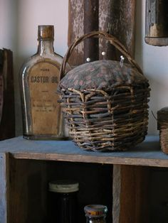 The best little primitive pin cushion basket!! Love!