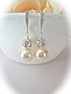 Pulsera de perlas y aretes set gruesos por QueenMeJewelryLLC