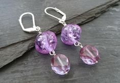 SALE purple glitter nugget and faceted bead earrings, lever back ear wires Handmade Lamps, Handmade Jewellery, Earrings Handmade, Purple Glitter, Shades Of Purple, Bead Earrings, Glass Beads, Wire, Sparkle