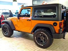 pffffttt whatchoo know about on a stock JK with NO lift! Orange Jeep, Jeep Wave, Jeep Wranglers, Jeep Jk, New Engine, Just Run, Future Car, Monster Trucks, Jeep Wrangler