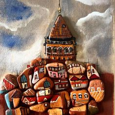 #galatatower #handpainted #pebbleart #uniquepiece