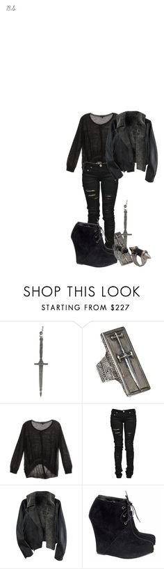 """""""Untitled #36"""" by deviousinstinct ❤ liked on Polyvore featuring Pamela Love, Ann Demeulemeester, Denim of Virtue, Opening Ceremony and Giuseppe Zanotti"""
