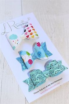 Handmade-Cute-Artisan-Fabric-amp-Glitter-Trio-of-Bow-Hair-Clips
