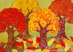 fall arts and crafts for kids | can add details before gluing on the trees. Bits and pieces of autumn ...