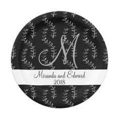 Monogram Faux Burlap & Lace Rustic Wedding Paper Plate | Monogram ...