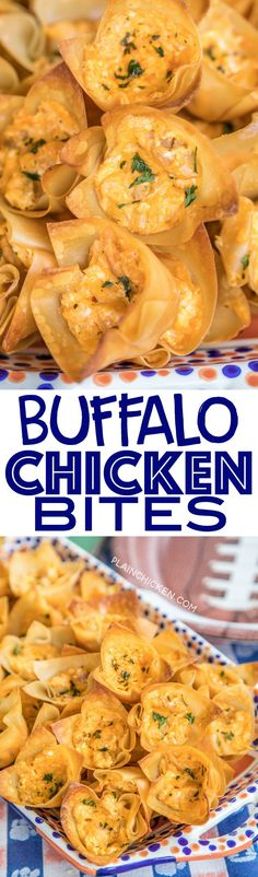 Buffalo Chicken Bites - creamy buffalo chicken dip baked in wonton wrappers. PERFECT for parties and tailgating!! I love these bite-sized appetizers!! Can adjust hot sauce to make the dip fit your tastes. Everyone RAVES about this yummy appetizer recipe!
