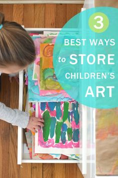 Three tried-and-true ways to store and sort all that art that your child makes. Storing Kids Artwork, Organizing Kids Artwork, Painting For Kids, Drawing For Kids, Kids Room Art, Art For Kids, Kids Art Storage, Childrens Artwork, Artwork Display