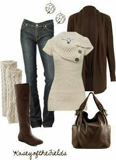 Fall Knits --- Jeans, brown cardigan, oatmeal colored leg warmers and sweater with an asymmetrical neckline. Dark brown boots and bag. Fashion Moda, Look Fashion, Fashion Outfits, Womens Fashion, Fall Fashion, Fashion Clothes, Fashion Ideas, Fashion 2017, Fashion Rings