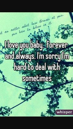 Im sorry im hard to deal with sometime love... And sometime i messed up and im sorry... Im not perfect... But i do kw this that i love you forever and always. SS