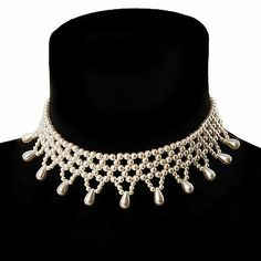 Bridal Charm Beaded Flex Choker (Off-White)