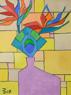 """Painting, """"Still Life - Flower, Feather, and Vase Abstract (Painting No. Greek Paintings, Abstract Art Painting, Floral Painting, Abstract Painting, Painting, Art, Colorful Abstract Art, Abstract, Portraiture Art"""