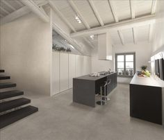 Urban #RoomScene featuring #Bianco #Scultura + #Grigio #floor #tile - available through #MidAmericaTile | #wave #kitchen #bar #commercialspace #white #grey #gray