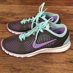 "Nike Training Balanza's NWOT, never worn outside. Perfect and brand new condition. True to a size 7.5, part of the ""Nike Free Training Balanza"" line. No trades. Dark gray with baby blue and purple accents. Nike Shoes Athletic Shoes"