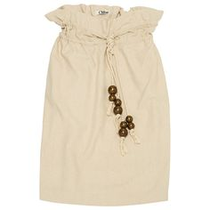 Beige cotton canvas skirt, high-waisted, two rope belts with gold pearls, two inseam pockets, composition and size label missing, estimated cotton canvas, 38FR