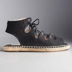 Simply Vera Vera Wang Delores Women's Espadrille Sandals, Size: 7.5, Black