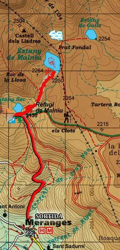 Mapa Meranges-Estany Malniu